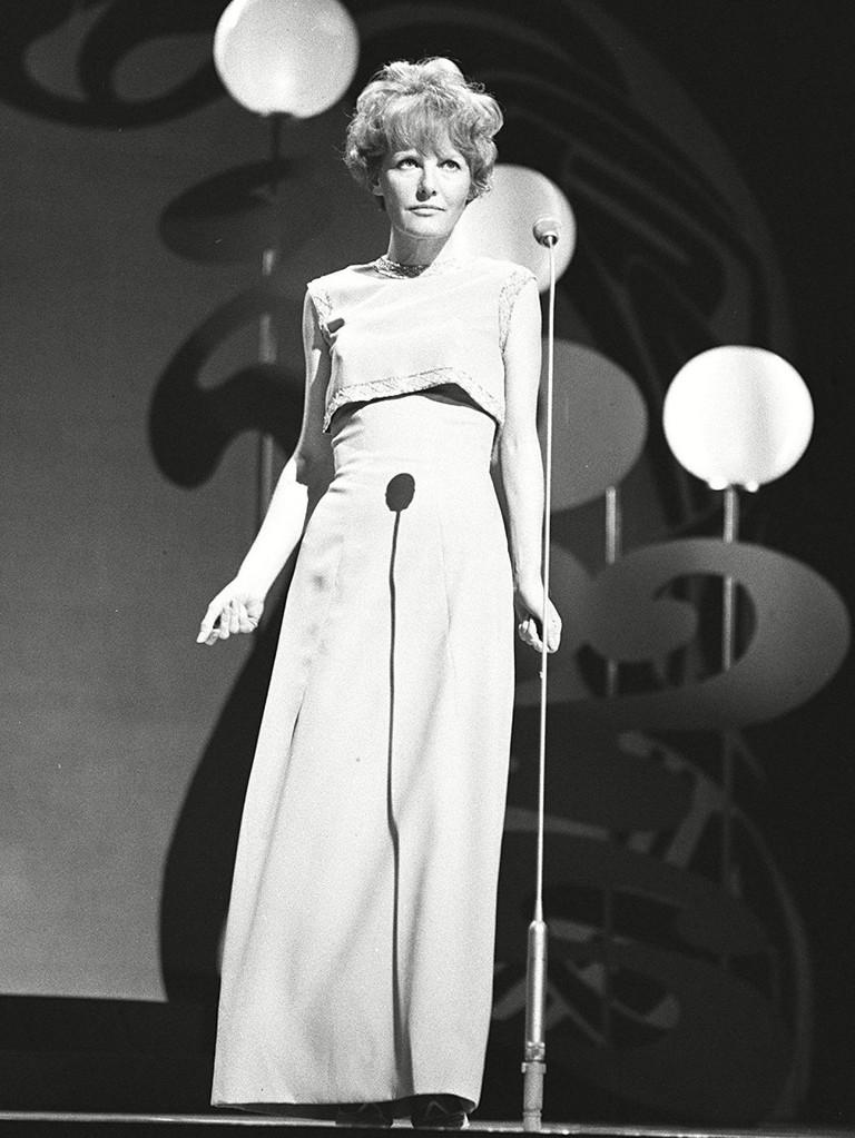 Petula Clark performing on TV's 'Sunday Night at the London Palladium' in 1965