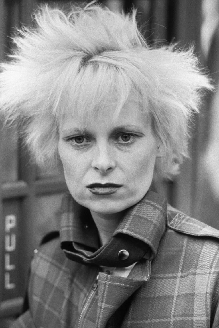 Vivienne Westwood in her signature tartan