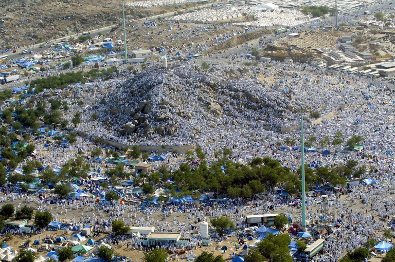 Muslim pilgrims gather at Jabal al-Rahmah or the Mount of Mercy near the Saudi town of Arafat