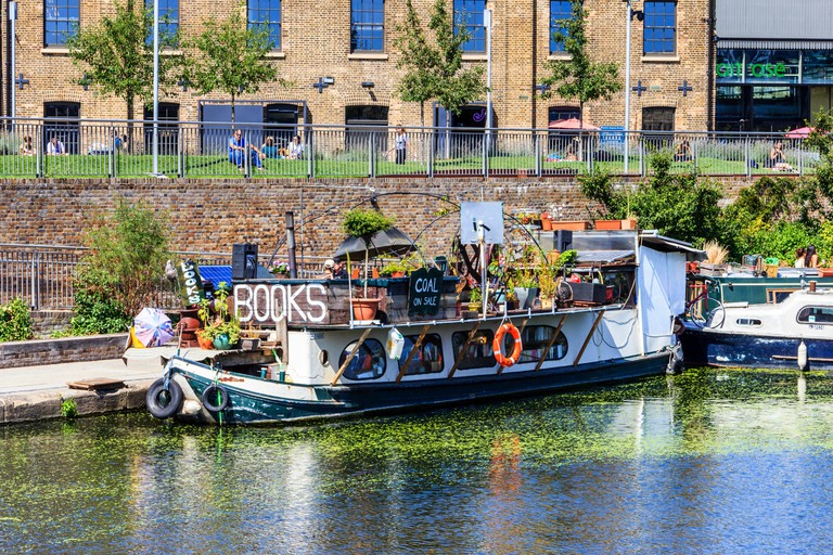 'Word on the Water', the London Bookbarge on Regent's Canal at King's Cross, London, UK