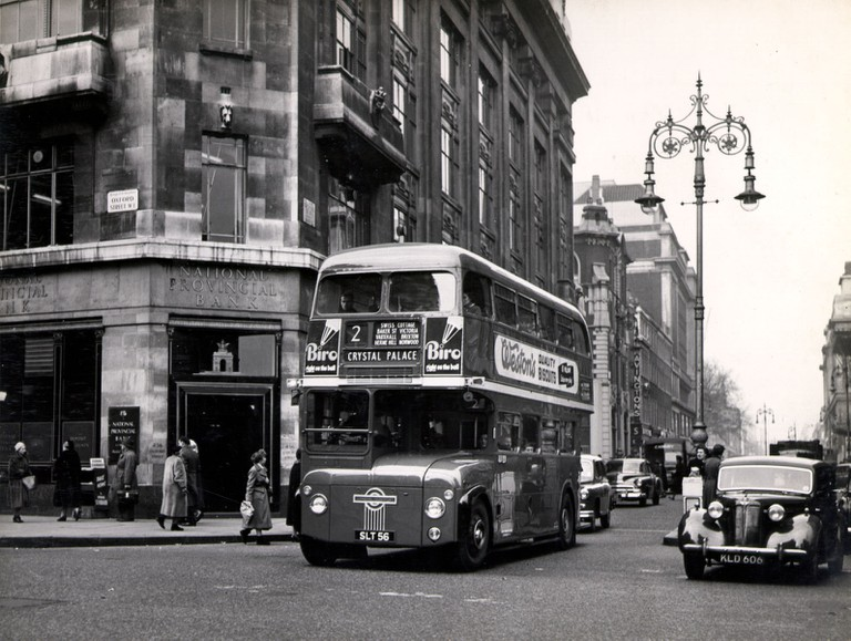 Routemaster bus near Oxford Street, by Colin Tait, 1956