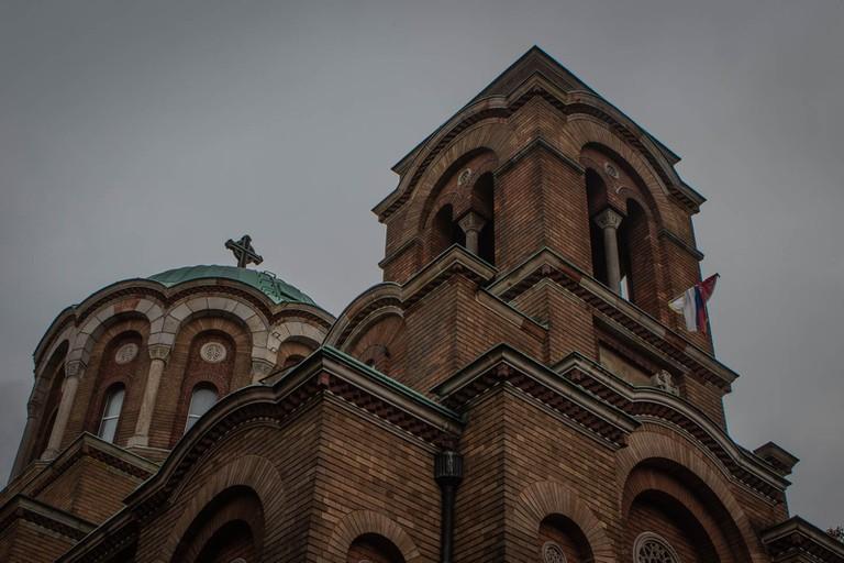 Serbian flag outside Lazarica Church