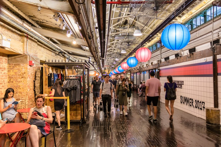 Inside Chelsea Market - a food hall, shopping mall, office building and television production facility located in the Chelsea neighborhood of the borough of Manhattan, in New York City.