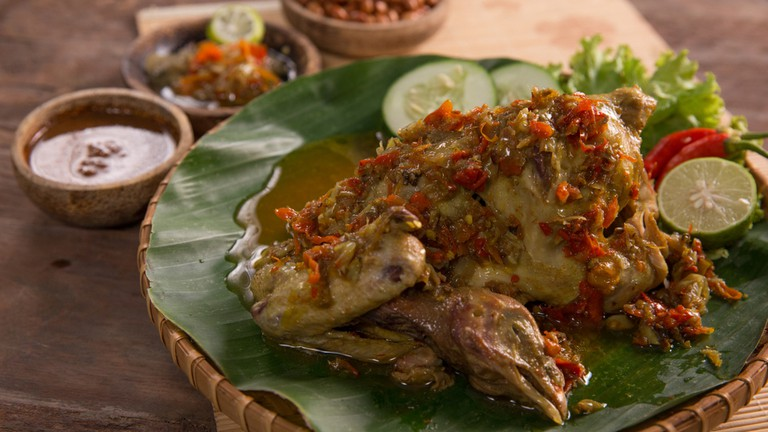 Indonesian balinese culinary. ayam betutu. steamed or roasted chicken