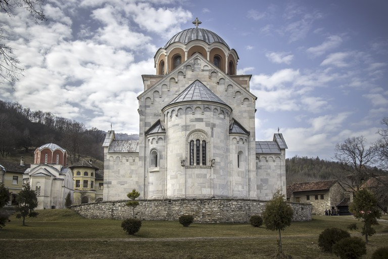 Detail of the 12th century Serbian Orthodox monastery Studenica.