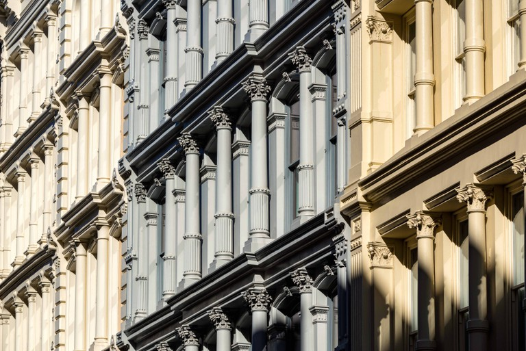 Cast iron facades and ornamentation. Nineteenth century buildings in Manhattan's Soho neighborhood. New York City