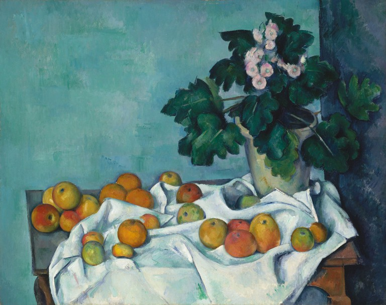 Still Life with Apples and a Pot of Primroses, by Paul Cezanne, 1890, which was owned by the French impressionist painter Monet at some point.