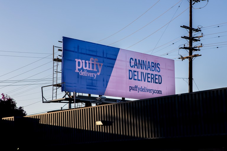 Cannabis delivered advertising  sign and billboard , Orange County, California ; USA