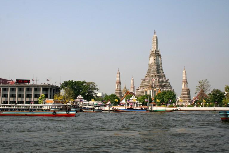 The Chaophraya River and Wat Arun in Bangkok, Thailand