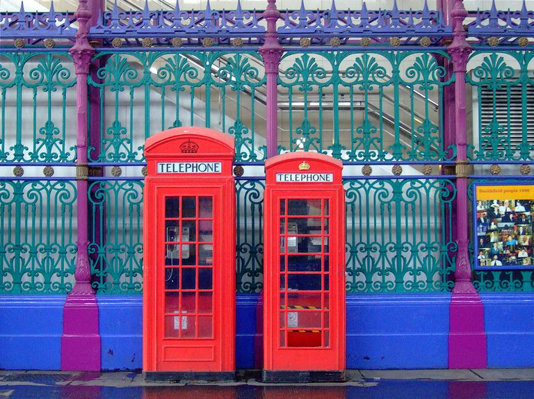 The K2 and K6 phone boxes outside Smithfield Market, London