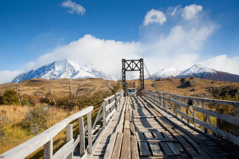 Entry Bridge to the Los Torres Area of Torres del Paine National Park, Patagonia, Chile.
