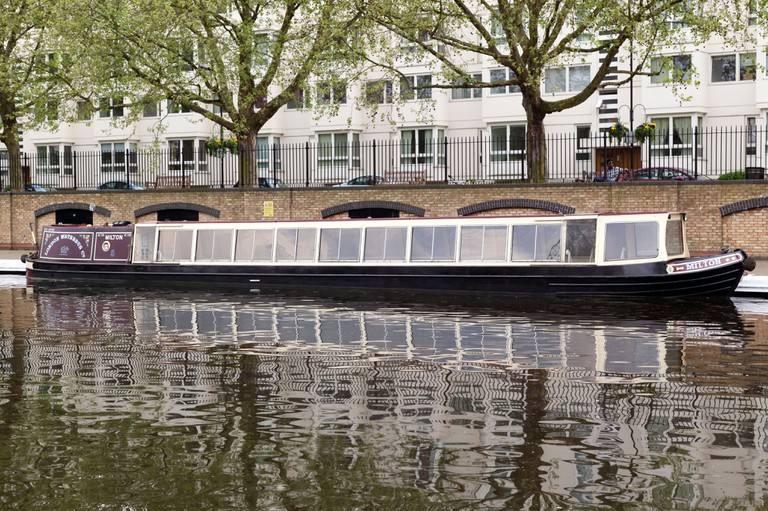 The London Waterbus Compainie's Narrow boat 'Milton', moored at Little Venice.