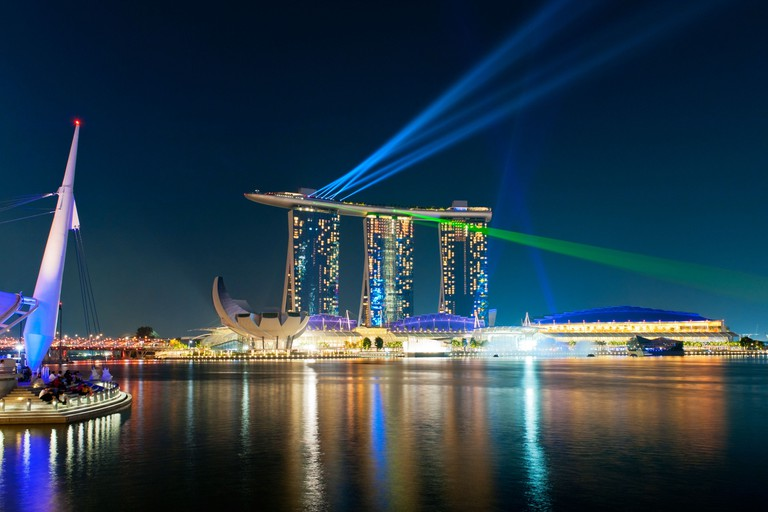 Nightly light and water show, Wonder Full, with lasers at the Marina Bay Sands Hotel, Singapore