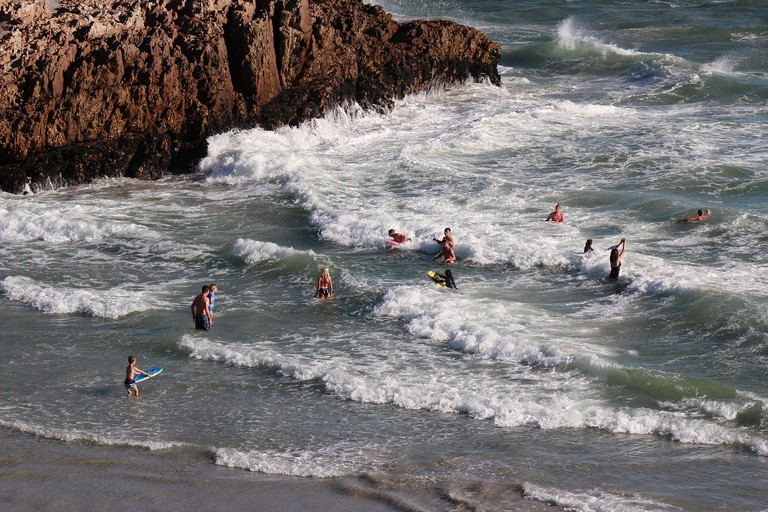 Children love to swim in the sea at Hermanus