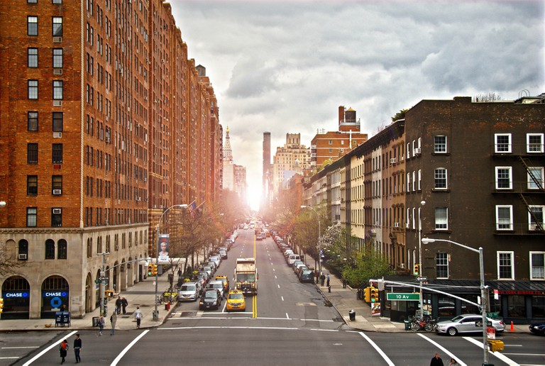 A view of a street in Chelsea, New York city, as seen from the High Line.