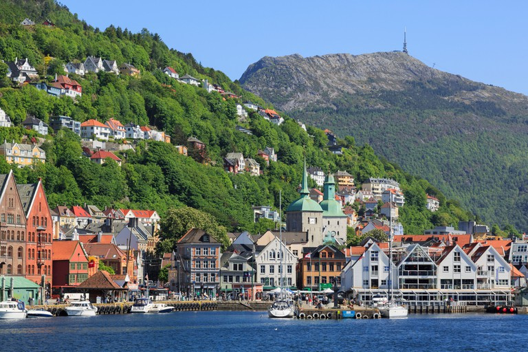 Mount Ulriken and historic city of Bergen, Norway.