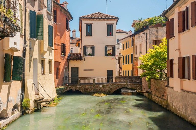 Beautiful clear waters of a river in Treviso, Veneto, Italy