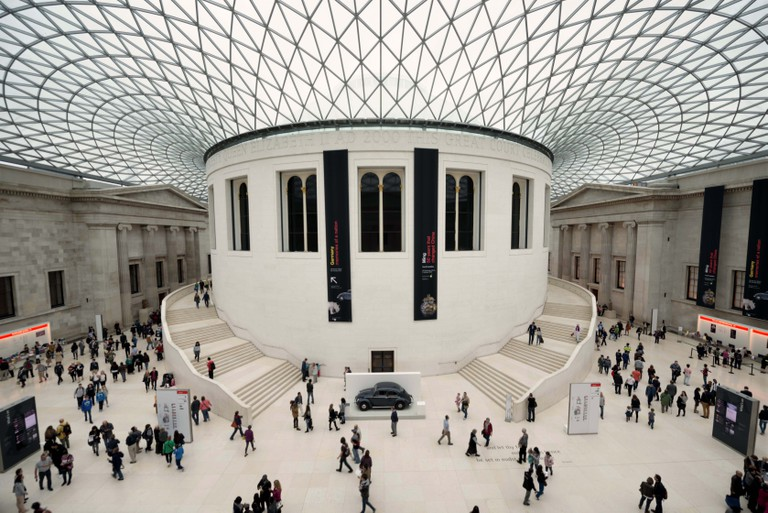 The distinctive Great Court at the British Museum in London. Designed by Foster and Partners, its formal name is the Queen Elizabeth II Great Court. It converted the Museum's inner courtyard into the largest covered public square in Europe. It encloses tw