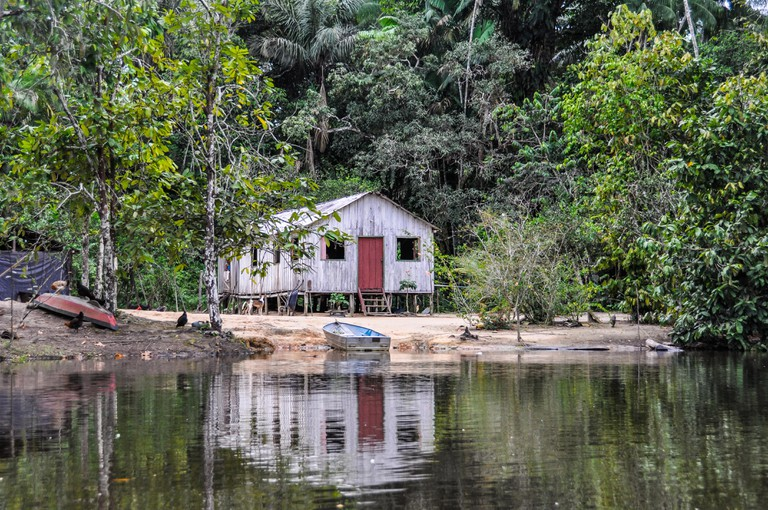 Lonely hut in the Amazon Rainforest, close to Manaus, Brazil