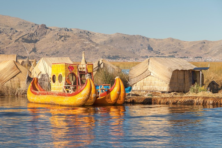 Reed boat on Island of Uros. Those are floating islands on lake Titicaca.