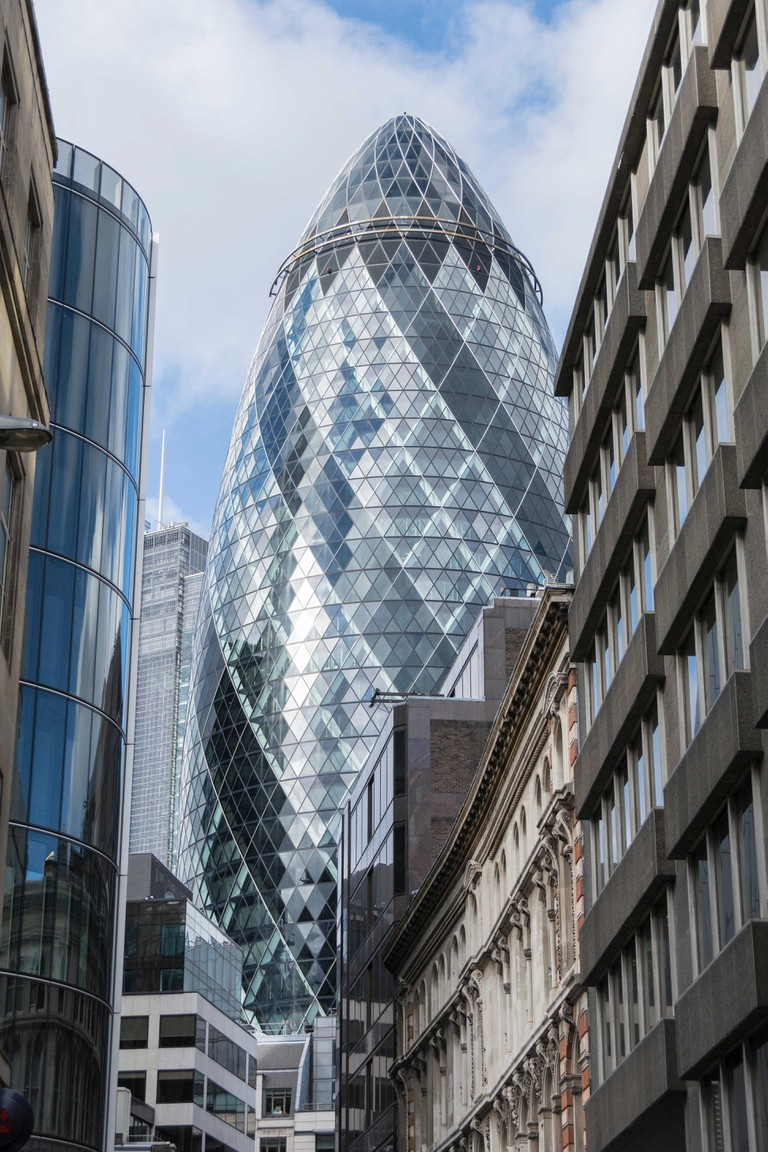 The Gherkin in the City of London, UK