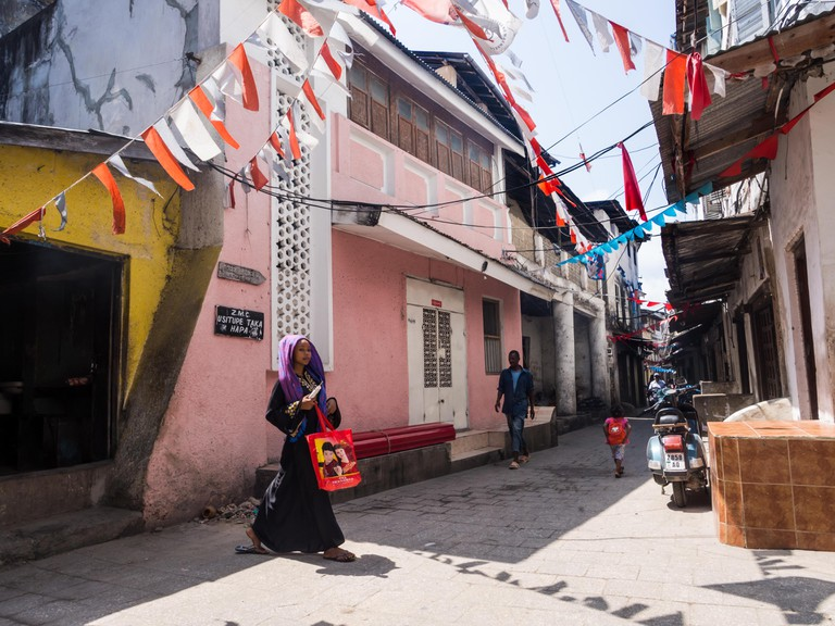 One of the streets in Stone Town, the capital of Zanzibar.