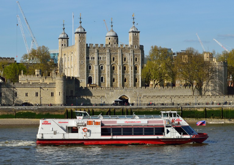 One of the City Cruises' London sightseeing boats on the river Thames