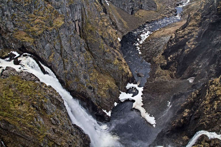 Voringsfossen Is A Waterfall In Norway, Which Lies On The Western Edge Of The Hardangervidda