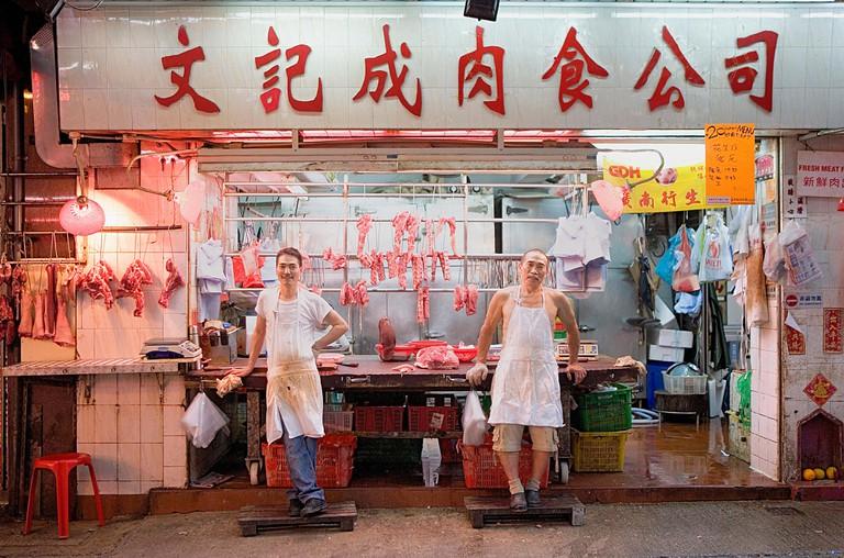 Butcher's shop in Gage Street,Graham Street Market, Soho, Hong Kong.