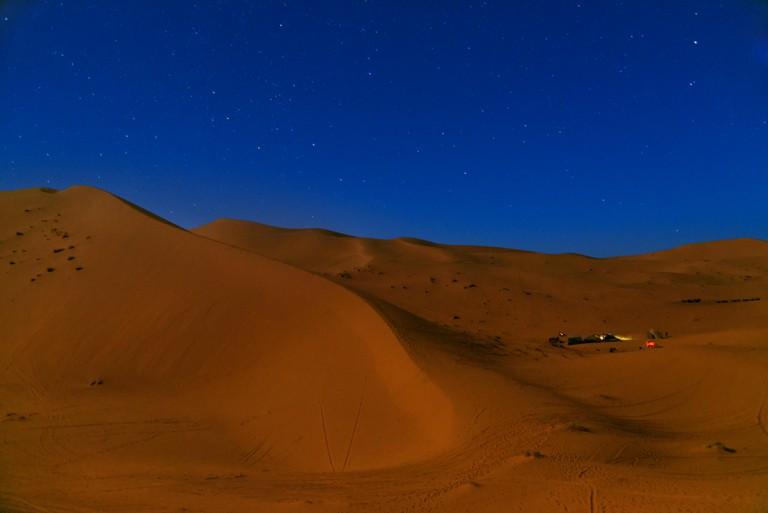 Night in Erg Chebbi Sand dunes in Sahara Desert near Merzouga, Morocco