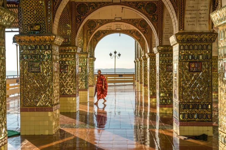 Columns of the Sutaungpyei Pagoda on Mandalay Hill, Mandalay, Myanmar