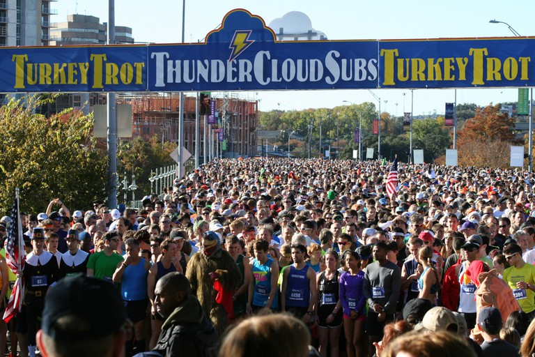 The ThunderCloud Subs Turkey Trot has grown exponentially in its quarter century, from 600 participants in 1991 to nearly 20,000 participants in 2017.