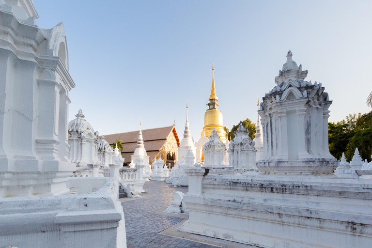 Buddhist Wat Suandok white temple in Chiang Mai in northern Thailand.