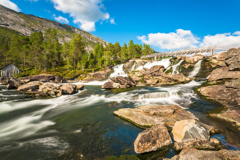Likhole waterfall. Gaularfjellet, Norway.