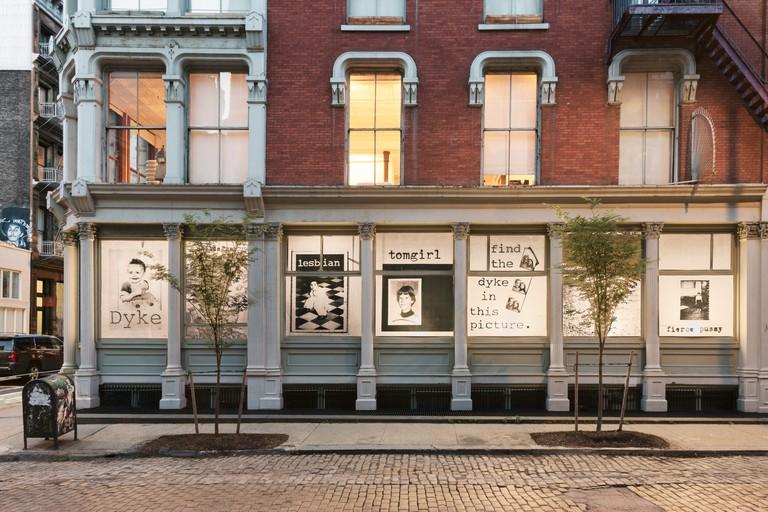 "Leslie-Lohman Museum facade, ""Fierce Pussy"" , 2018, Soho, New York, USA."