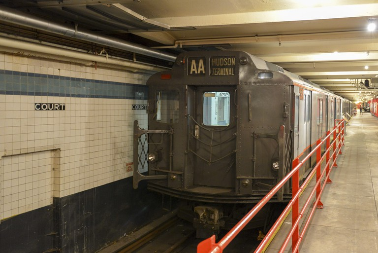 New York Transit Museum with vintage train at the old Court Street Station.