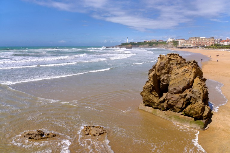 Beach in the bay of Biscay at Biarritz, a city on the Atlantic coast in the Pyrenees-Atlantiques department in the French Basque Country