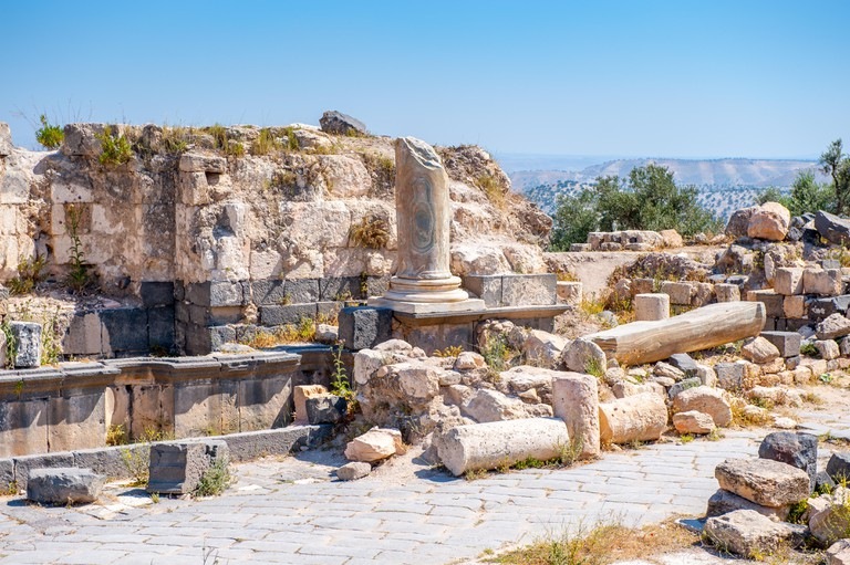 Roman colums of the ancient city of Gadara, modern Jordan