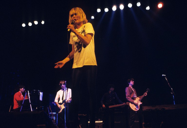 Blondie (Deborah Harry) in concert at the Hammersmith Odeon, London.