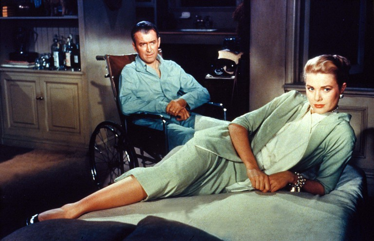James Stewart and Grace Kelly in a scene from Rear Window.