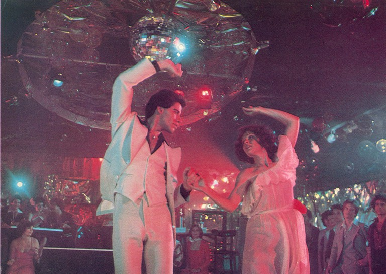 "John Travolta and Karen Gorney in ""Saturday Night Fever"""