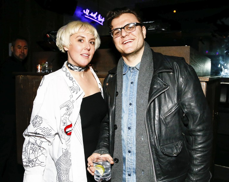 Carrie Morrissey (L) with Adam Phillips at Suno show, Autumn Winter 2015, Fashion Week, New York, America.