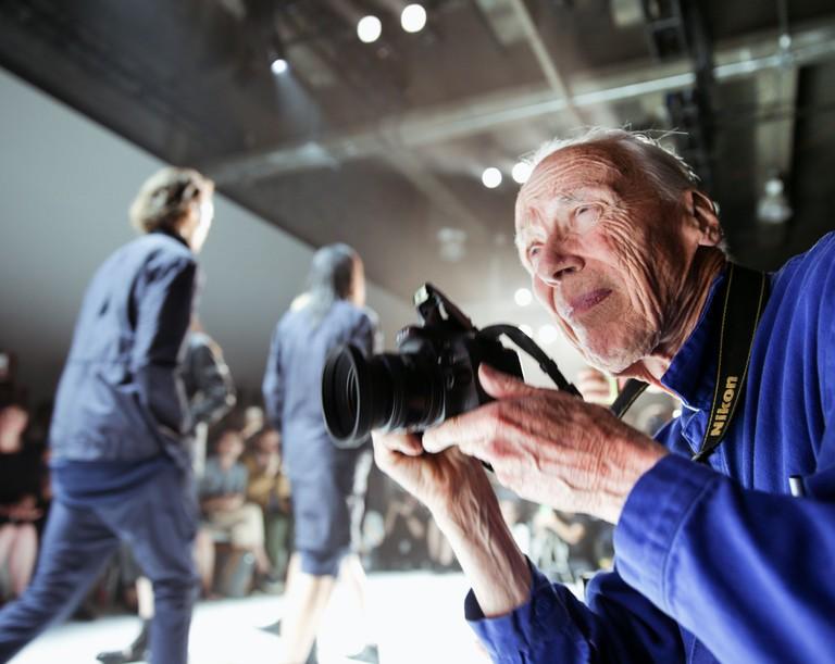 Bill Cunningham working at the spring/summer 2016 New York Fashion Week: Men's, America, July 15, 2015