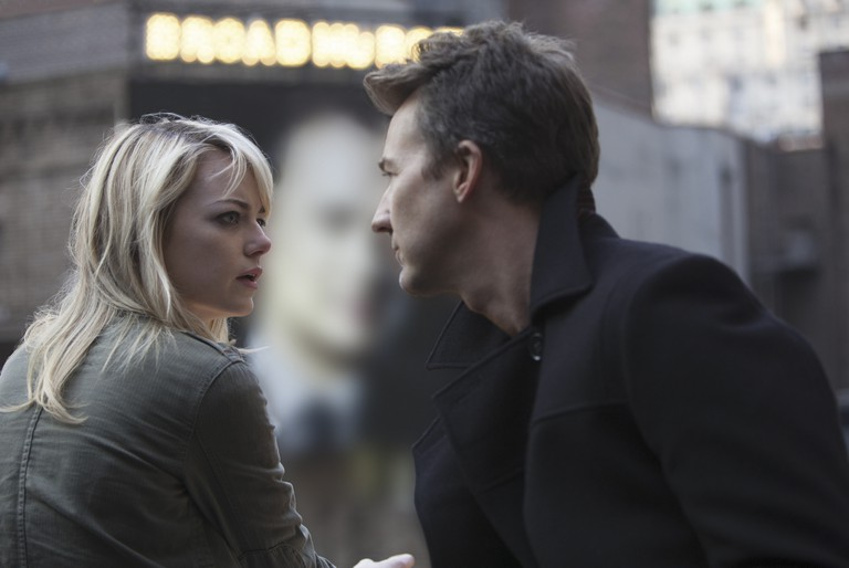 Emma Stone and Edward Norton in Birdman - 2014.