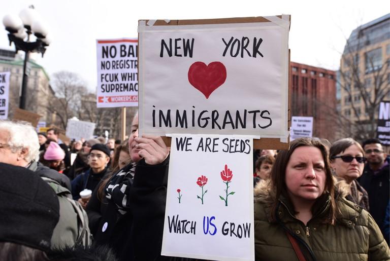 No ICE protest, Washington Square Park, New York, USA - 11 Feb 2017