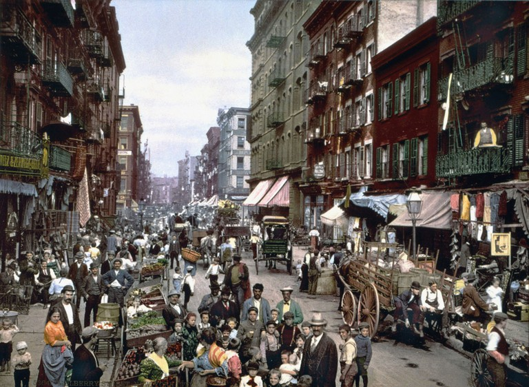 Mulberry Street, seen circa 1900, stretches through NYC's Chinatown and the Lower East Side
