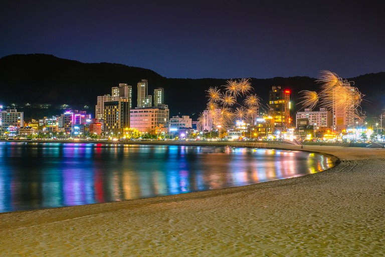 Haeundae beach in Busan city at night, South Korea.