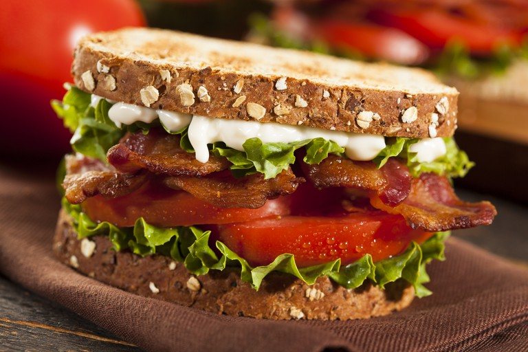 Fresh Homemade BLT Sandwich with Bacon Lettuce and Tomato.