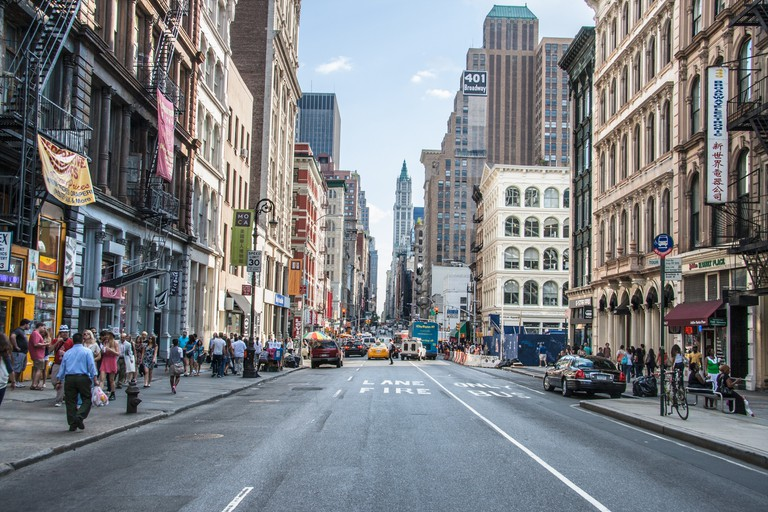 Broadway, north of Canal Street in SoHo, is home to many trendy shops and restaurants