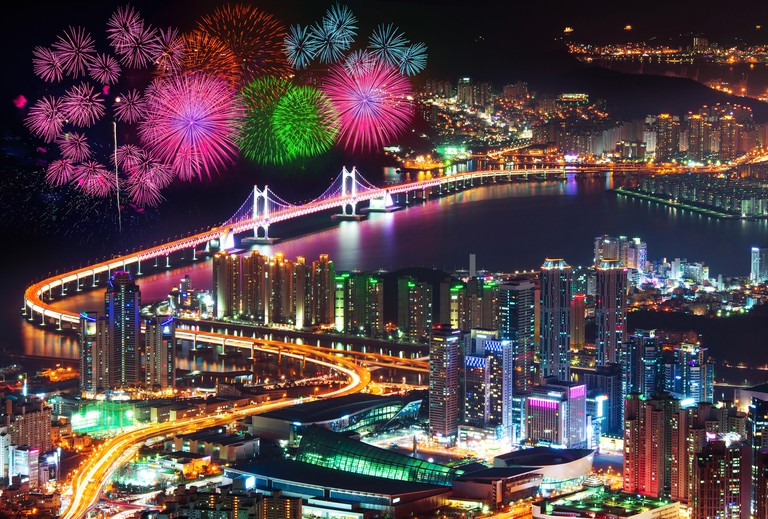 Firework festival at GwangAn Bridge in Busan,South Korea.